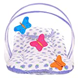#5: Littly Butterfly Design Cotton Bedding Set with Foldable Mattress, Mosquito Net and Pillow (Blue)