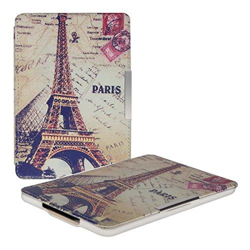 kwmobile Hülle für Amazon Kindle Paperwhite (2012/2013/2014/2015/2016/2017) - Flipcover Case eReader Schutzhülle - Bookstyle Klapphülle Eiffelturm Louvre Design Grau - Frankreich Kindle-büchern Von