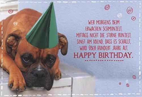 """Geburtstagskarte lustig Hund   Glückwunschkarte Geburtstag """"wer morgens beim erwachen schmunzelt..."""""""
