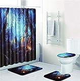 EMG Polyester Faser Badezimmer Vorhang Badezimmer Wolldecken Toiletten Sitz Kissen 16 Stück Satz Kreative Stadt Nachtszene Serie Ⅱ