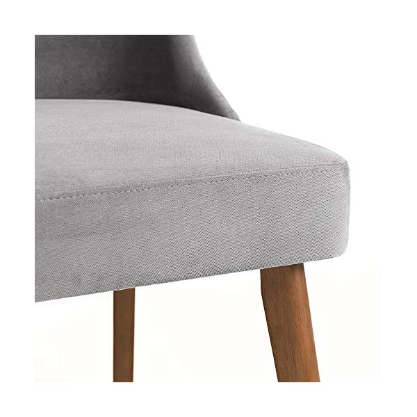 Julian Bowen Huxley Dining Set Julian Bowen Glamourous curved back for added comfort Modern walnut tapered legs Finished in a dusk grey chenille fabric, suitable for a range of décor 6