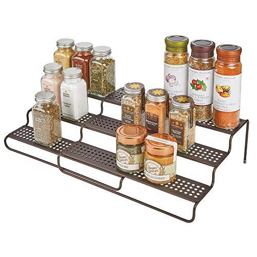 mDesign étagère à épice pour le placard de la cuisine - rangement épices télescopique pour plus d'ordre dans la cuisine - étagère cuisine en métal à trois niveaux - couleur bronze