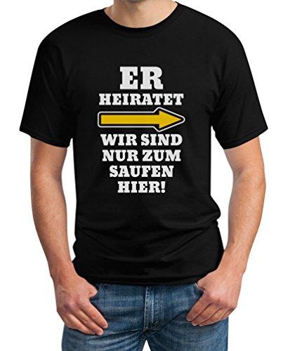 JGA Kombi Shirt - Rechts Er Heiratet Wir Sind Nur Zum Saufen Hier Polterabend Junggesellenabschied Männer Herren T-Shirt X-Large Schwarz