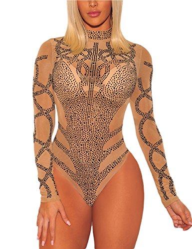 SEBOWEL Frauen Strass Pailletten mesh Trikot unterwäsche Body Langarm wrap rollkragenwäsche Shapewear Tops Bluse Kittelschürze Strampler Verein Party