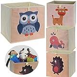 LS-LebenStil Kinder Aufbewahrungsbox Igel Spielzeugkiste Faltbar 32x32x30 Kiste Schublade Spielzeug Aufbewahrungswürfel Organizer