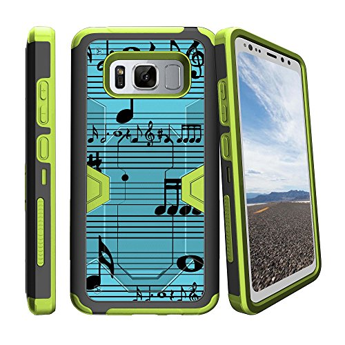 Schutzhülle für Samsung Galaxy S8 Active SM-G892 (Hybrid-Hartschale, Silikon) Grün, Blue Musical Notes (Cell Phones Cricket Note Samsung)