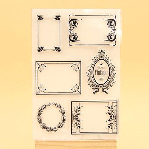 Clear Stamp Set 10,2x 15,2cm Vintage Rahmen Transparent Klar Silikon Stempel/Dichtung für DIY Fotoalbum/Scrapbooking Deko CLEAR STAMP Blatt (Rahmen Clear Stempel-set)
