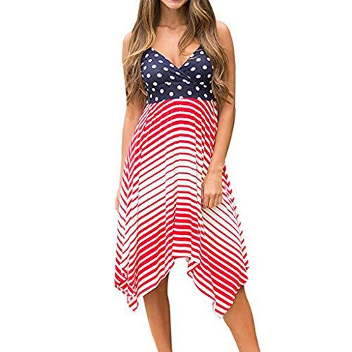 Cooljun American Flag Tank Top 4. Juli Shirts Bluse Independence Day Damen Frühling Sommer Mode Wave Point Strap Sling Kleid