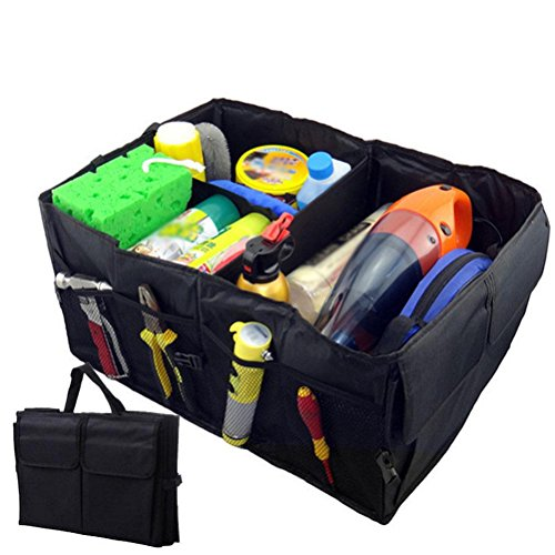 WAOBE Kofferraum-Organizer - Kofferraum-Organizer-Aufbewahrung mit Bügeln Dauerhafter zusammenklappbarer Kofferraum - Faltbarer wasserdichter Deckel 40L, Schwarz, 1er-Pack (Indoor Storage Box)