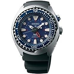 Seiko Men's Quartz Watch with Black Dial Analogue Display Quartz Rubber SUN065P1