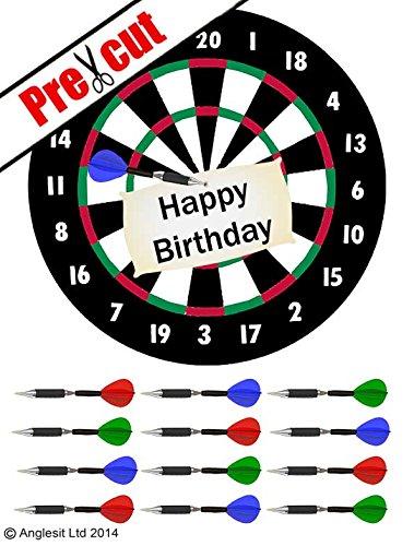 'Happy Birthday Dartscheibe Tortenaufsatz 18cm Esspapier/Reispapier Cup Cake Dekoration Topper Geburtstag Party
