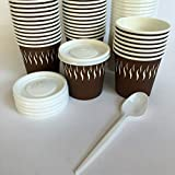 Ggroup 100 Bicchieri Carta per Caffe' con Coperchio Hot Cup 110 ML 4 oz + 100 CUCCHIAINI Bianchi 125mm Ideali per Bevande Calde