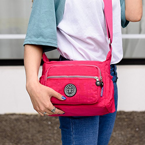 Outreo Umhängetasche Leichter Schultertasche Wasserdicht Taschen Damen Kuriertasche Mode Strandtasche Designer Messenger Bag Sporttasche Rot 1