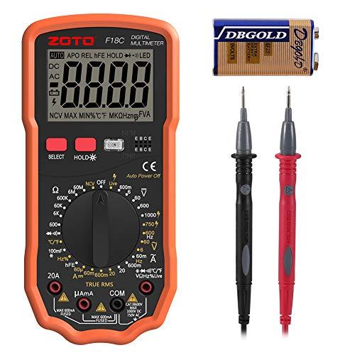 Digital Multimeter, ZOTO 6000 Zählt Auto Range AC DC Spannungsprüfer, Amperemeter, Widerstand, Temperaturmessung, Außenleiter-Identifizierung, Durchgangsprüfung, Hintergrundbeleuchtung