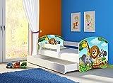 Clamaro 'Fantasia Weiß' 140 x 70 Kinderbett Set inkl. Matratze, Lattenrost und mit Bettkasten Schublade, mit verstellbarem Rausfallschutz und Kantenschutzleisten, Design: 02 Tierpark-2