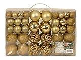 Esclusive Sfere per Albero di Natale SET da 100 Pezzi Colore Oro - Esclusive palline di natale SET - Materiale: plastica - Colore: oro - diverse dimensioni - Quantità: 100 Pezzi compreso Contenitore PVC