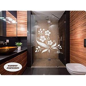 Aufkleber Folie Tattoo Glasdekorfolie Bad Dusche Duschwand Badezimmer Glasdekor GD40 Ornament Blume