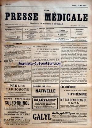 PRESSE MEDICALE (LA) [No 43] du 28/05/1921