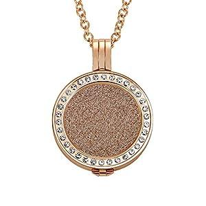 Quiges 70cm Halskette Set Rosegold Edelstahl with Glänzend Pendant und 25mm Coin