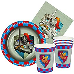 Boland 44013 – Juego tabla Knights & Dragons 6 vasos, 6 platos cm 18, 12 servilletas, multicolor