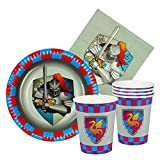 Boland 44013–Set Tisch Knights & Dragons 6Gläser, 6Teller cm 18, 12Servietten, mehrfarbig