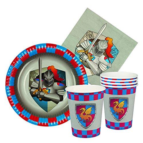 Boland 44013 - Set Tavola Knights & Dragons 6 Bicchieri, 6 Piatti cm 18, 12 Tovaglioli, Multicolore