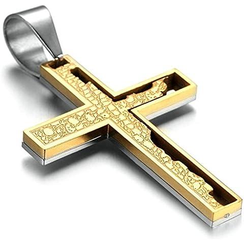 Daesar Joyería Collar Colgante Acero Mujer Hombre, Crucifijo Bibla Cruz Colgante Plata Oro Dorado, Tamaño 40x75mm