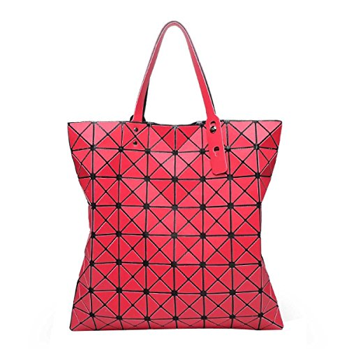 Frauen-beiläufige Art Und Weise Geometrisch Matte Falten Ling Gitter Taschen Red