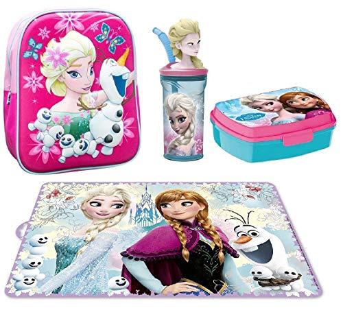 Disney frozen elsa e olaf set zaino zainetto in 3d portamerenda asilo,scuola materna