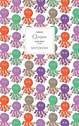 Octopus Notebook - Ruled Pages - 5x8 - Premium: (Autumn Edition) Fun notebook 96 ruled/lined pages (5x8 inches / 12.7x20.3cm / Junior Legal Pad/Nearly A5)