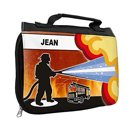 Kulturbeutel mit Namen Jean und Feuerwehr-Motiv für Jungen   Kulturtasche mit Vornamen   Waschtasche für Kinder -
