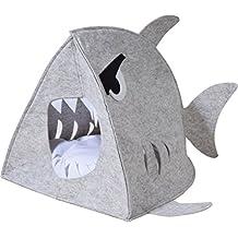 dobar &apos 60172 Acogedor de Fieltro Cueva Tiburón para Gatos y Perros con cojín, Exclusivo Gatos y Perros Cama, 41 x 42 x 37 cm, Gris