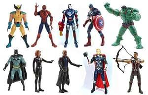 10 pcs AVENGERS SUPER HERO ACTION FIGURES Marvel DC Movie HULK THOR IRON MAN