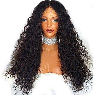 Spitze Lace Front Perücke Indisches Echthaar klebefreien 130% Dichte mit Baby Hair Jerry Curl Gelockt Kinky Curly Perücke schwarz, 130% (Baby Indische Kostüme)