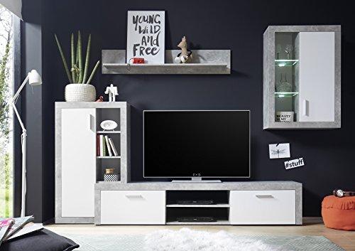 Avanti trendstore - merlo - parete da soggiorno in laminato di cemento d'imitazione / bianco, illuminazione led compresa, dimensioni: lap 280x195x40 cm