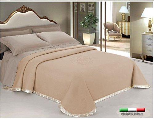 Centesimo web shop coperta 250x210 cm 100% lana ricamata floreale jacquard - prodotta in italia due posti ricamo floreale - matrimoniale marrone
