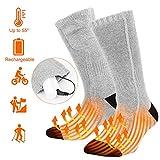 Vivibel Beheizte Socken, Beheizbare Socken für Männer und Frauen Elektrische Wiederaufladbare Batterie Thermische Socken mit Akku Fußwärmer Erwärmbare Socken für Zuhause Outdoor Sports - Grau