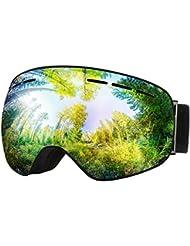 Gafas Snowboard de OMorc, Gafas Ski UV 400 Proteccion Anti Niebla con Vision Amplio y Claro, Lente de Doble Capa Gafas Esqui ajustable para Ski, Snowboard, Esqui, hombre y mujeres- Azul