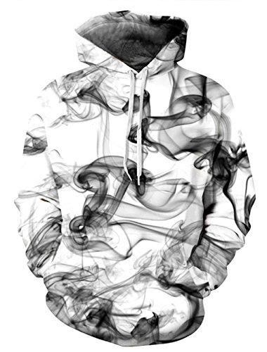 Leapparel Colorful 3D Pullover Hoodie Sweatshirt für Jungen und Mädchen mit großer Tasche Cool Graphic Prints Mantel Black Smoke S / M (T-shirt Kapuzen-print)