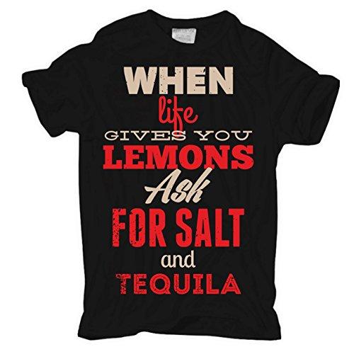 Männer und Herren T-Shirt Lemons & Tequila Schwarz