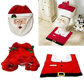 ZOGIN Kit de Decoración de Baño Papá Noel para Tapa del Inodoro, Tapa del Tanque y Alfombra de Baño, Color Rojo + Blanco