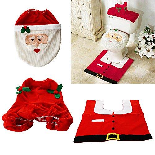 ZOGIN Kit de Decoración de Baño Papá Noel para Tapa del Inodoro, Ta