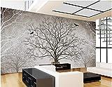 Wxlsl 3D Tapete Retro Schwarz-Weiß-Tv Hintergrund Baum 3D Zimmer Tapete Landschaft Dekoration 3D Wandgestaltung-150cmx105cm