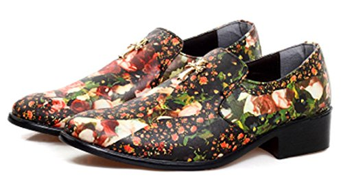 Men's Hairstylist Printed Half Draggged Pointy Leather Oxford Shoes 4