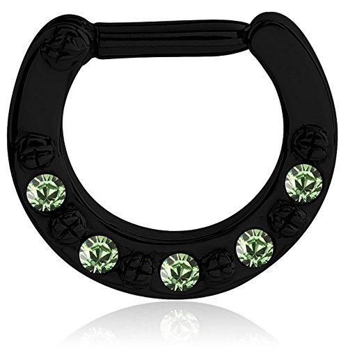 eeddoo Septum-Piercing Ring mit Kristallen Schwarz Edelstahl Hell Grün