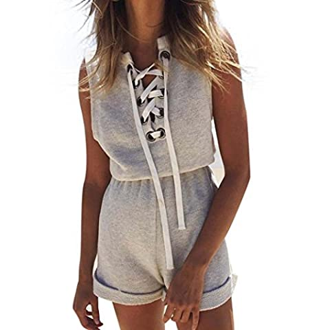 Reaso Femmes Sexy Bandage Combinaison Sans Manches Rompers Casual Combishort