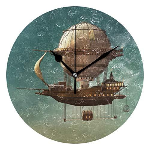 LISUMAL Surreale Sky Scenery con Steampunk Airship Fata Sci Fi Stardust Space,Sveglia Rotonda Senza Scala da 25 cm per Uso Domestico, Display da Parete a Doppio Uso, Stile retrò Rustico colorato Chic