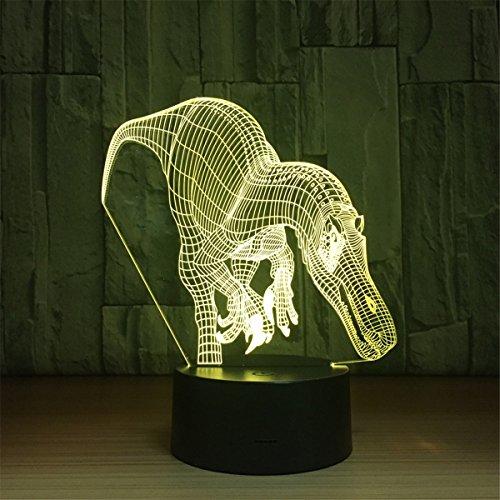 USB alimentado Carcharodontosaurus 3D Touch Optical ILLusion Night Light Impresionante Efecto Visual 7 colores que cambian la mesa de escritorio Deco Lámpara de dormitorio Habitación para niños Decorative Nightlight Regalos de vacaciones de juguete