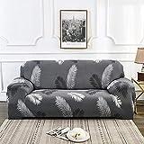 Nannan Moderne bedruckbare Stretch waschbare Sofabezug Staubdichte Möbelschutz Schonbezug Sessel Wohnzimmer Couchbezug-Schwarz_2-sitzig 145-185cm