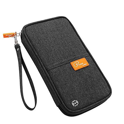 Reisepass Tasche, laxikoo Reisepasshülle mit RFID Blockier Familien Reisebrieftasche Wasserabweisende Ausweistasche Reiseorganizer Travel Wallet Organizer für Damen/Herren (Schwarz) -